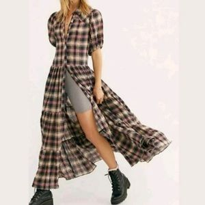 NWOT Free People Little Bit Of Plaid Maxi Dress